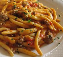 Fricelli with sausage and mushrooms