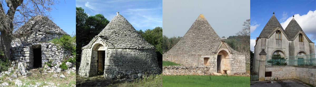 The architectural stages of trulli, from the 16th to 20th century.