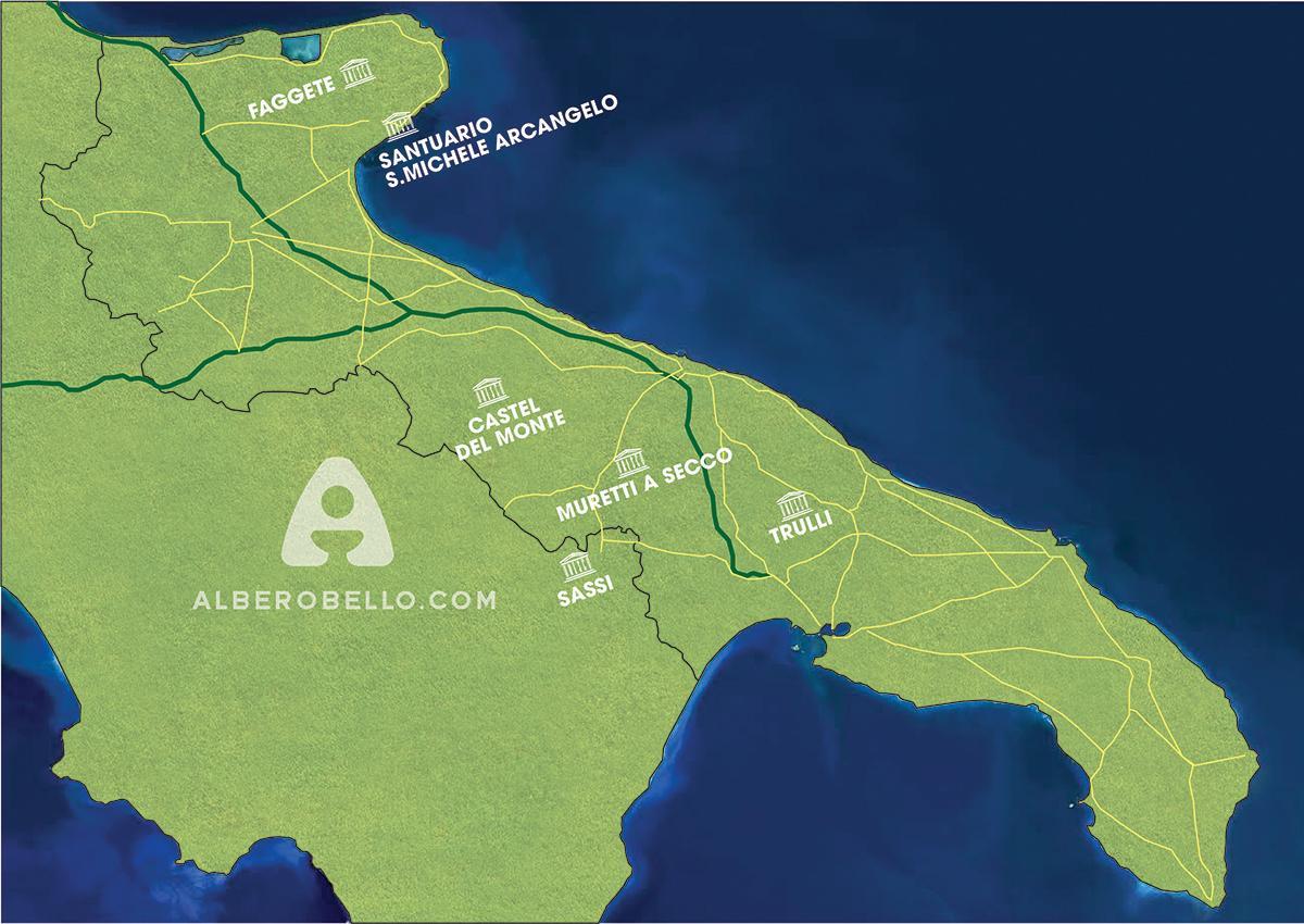Mappa siti UNESCO Puglia